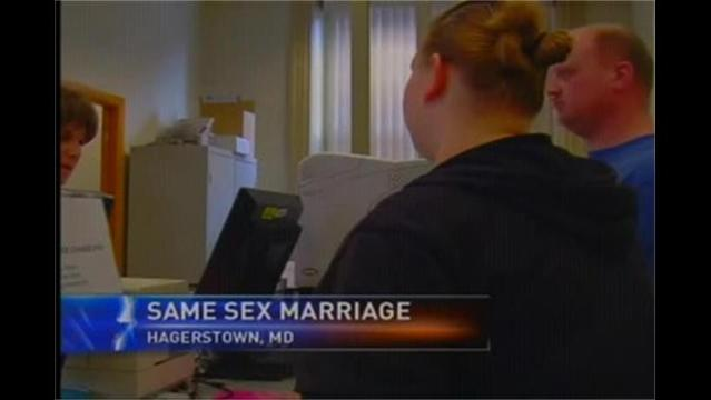 Same Sex Couples Apply for Marriage Licenses in Maryland