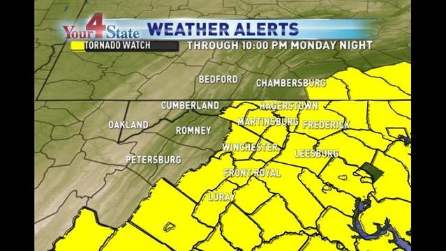 Tornado Watch Issued for Portions of WHAG Viewing Area Through Monday Night