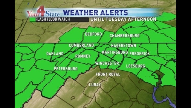 Flash Flood Watch Issued For Most of Area Through Tuesday Afternoon