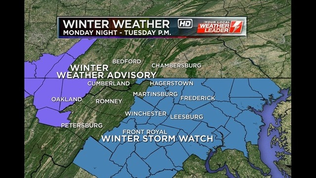 Winter Storm Watch & Winter Weather Advisories Issued for Tuesday