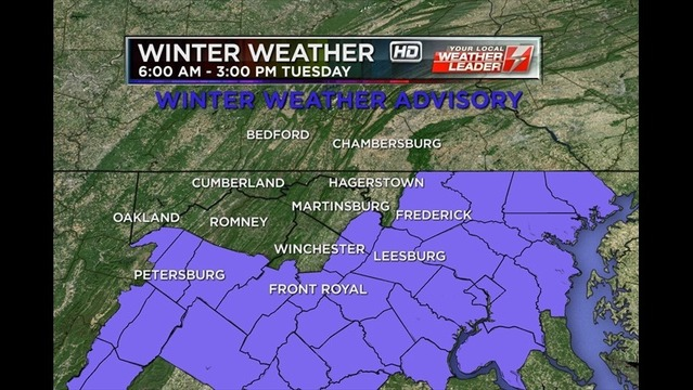 Winter Weather Advisories Issued; Accumulating Snow Likely Tuesday