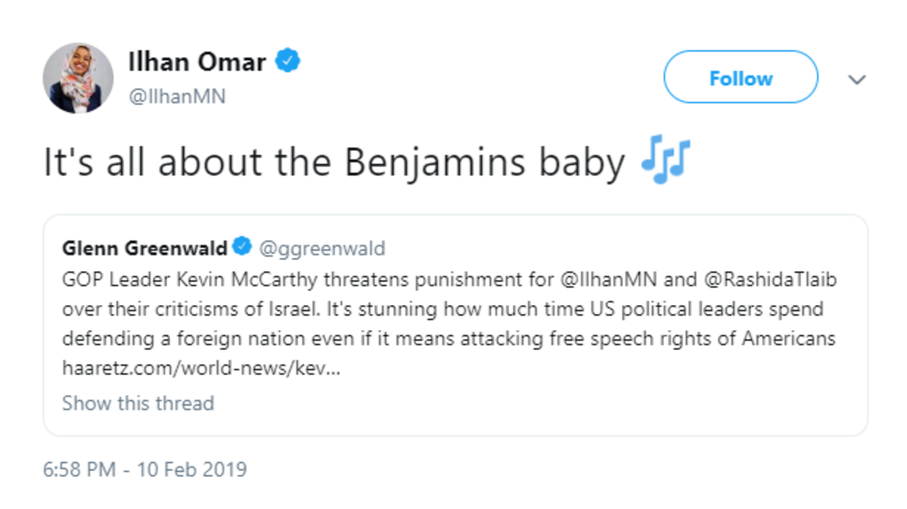 Image result for ilhan omar anti-semitic tweets